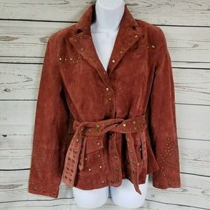 BERNARDO boho studded genuine leather suede jacket